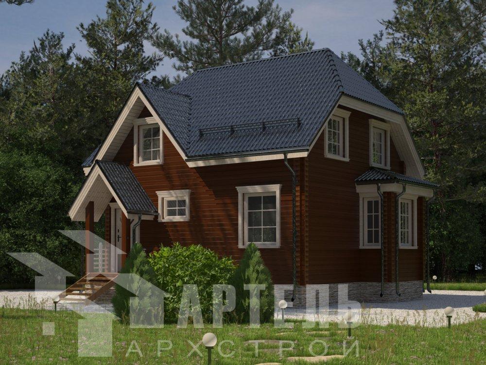 двухэтажный дом из профилированного бруса площадью до 100 кв. м. с  мансардой, эркером, проект Вариант 7 Г фотография 6603