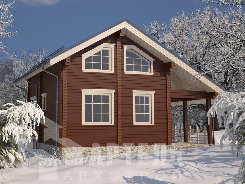 двухэтажный дом из профилированного бруса площадью от 100 до 150 кв. м. с  верандой, мансардой, эркером, проект Вариант 6 Л фотография 6612