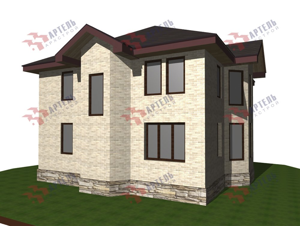 двухэтажный дом омбинированные дома площадью свыше 200 кв. м. с  эркером, проект Вариант 10,6К Камень и Комбинированный фотография 6269