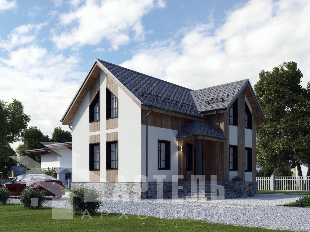 двухэтажный дом омбинированные дома площадью от 100 до 150 кв. м. с  эркером, проект Вариант 9 фотография 6349