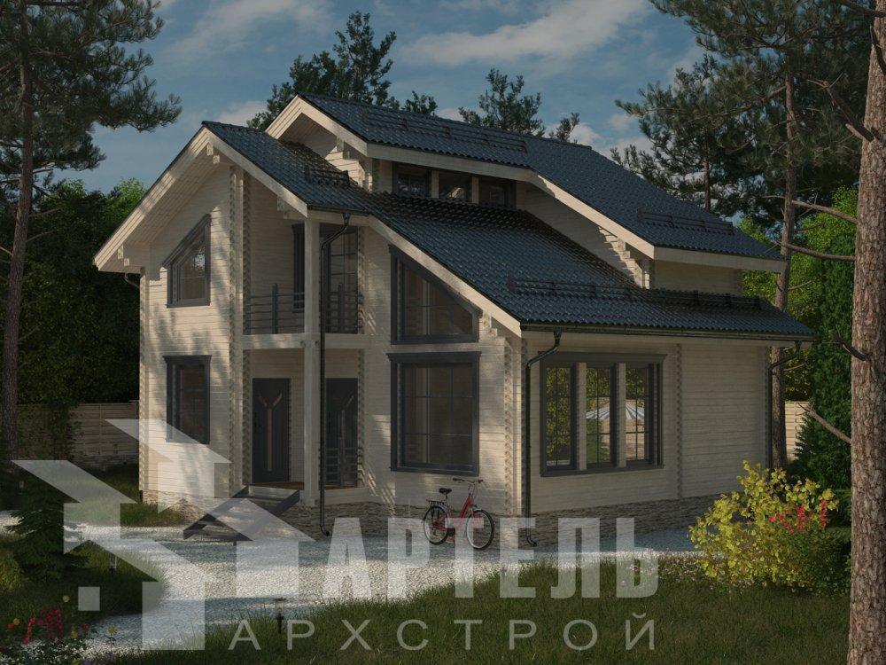 двухэтажный дом из профилированного бруса площадью от 100 до 150 кв. м. с  балконом, мансардой, проект Вариант 9.3 К фотография 6414