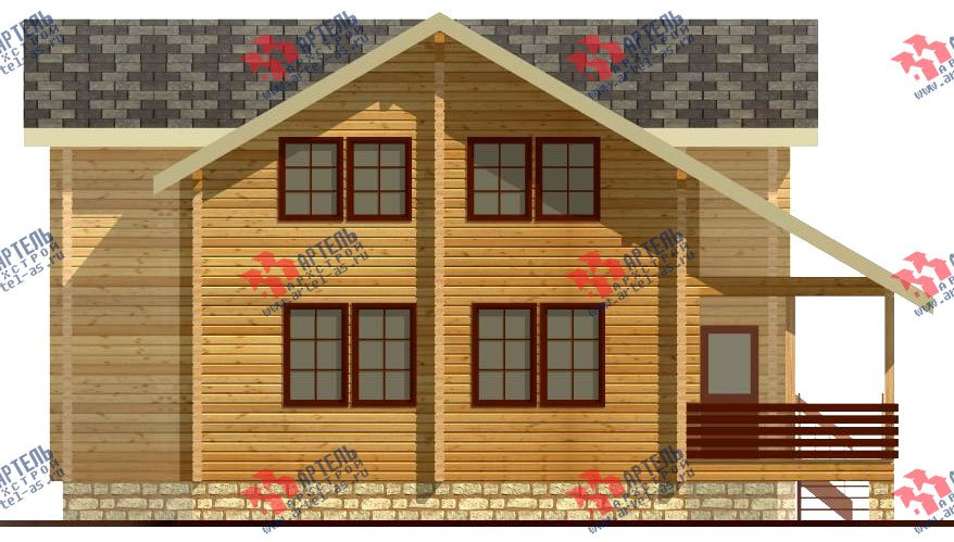 двухэтажный дом из профилированного бруса площадью свыше 200 кв. м. с  балконом, мансардой, террасой, эркером, проект Вариант 11 К фотография 429