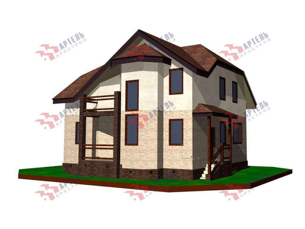 двухэтажный дом из камня площадью от 150 до 200 кв. м. с  балконом, эркером, проект Вариант 25 фотография 6451