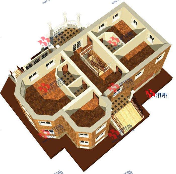 двухэтажный дом из камня площадью свыше 200 кв. м. с  верандой, гаражом, террасой, эркером, проект Вариант 2 фотография 459