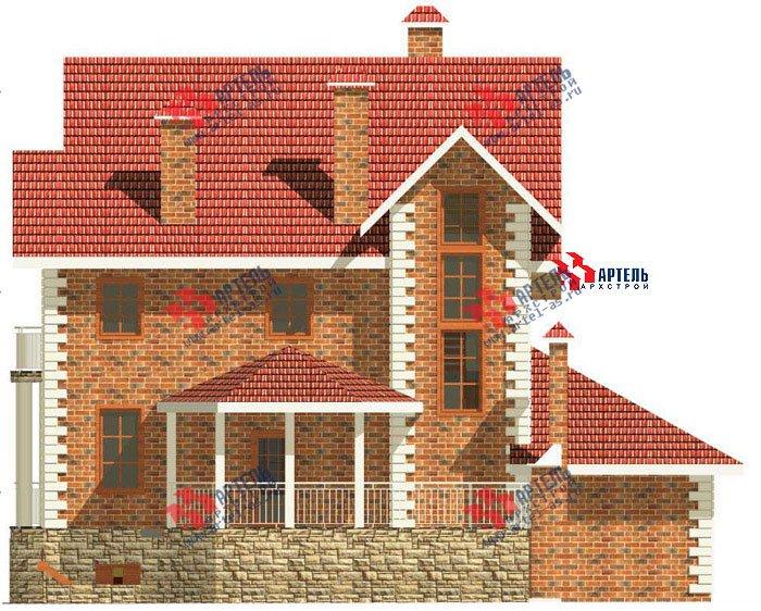 трёхэтажный дом из камня площадью свыше 200 кв. м. с  балконом, гаражом, террасой, эркером, проект Вариант 3 фотография 464