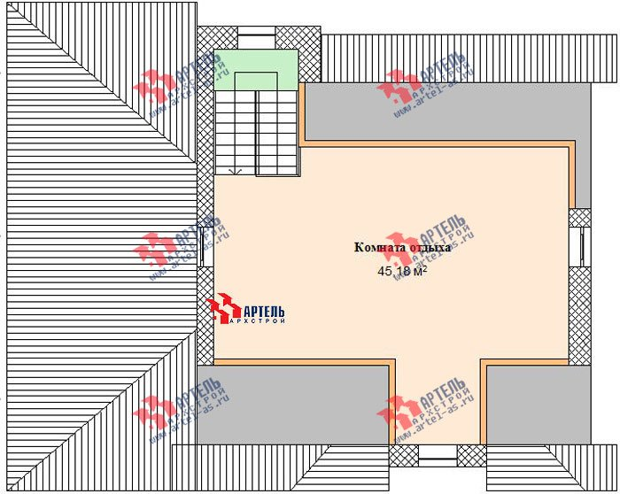 трёхэтажный дом из камня площадью свыше 200 кв. м. с  балконом, гаражом, террасой, эркером, проект Вариант 3 фотография 473