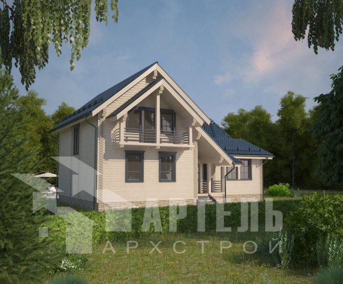 двухэтажный дом из профилированного бруса площадью от 150 до 200 кв. м. с  балконом, мансардой, эркером, проект Вариант 9 Е-1 фотография 4742