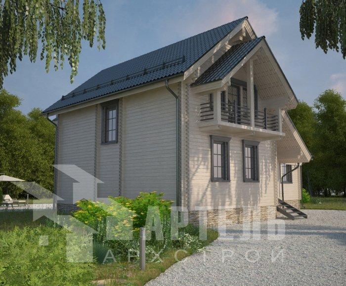 двухэтажный дом из профилированного бруса площадью от 150 до 200 кв. м. с  балконом, мансардой, эркером, проект Вариант 9 Е-1 фотография 4747