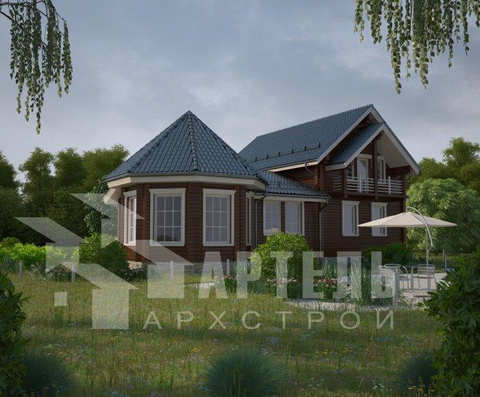 двухэтажный дом из профилированного бруса площадью от 150 до 200 кв. м. с  балконом, мансардой, эркером, проект Вариант 9 Е-1 фотография 4751
