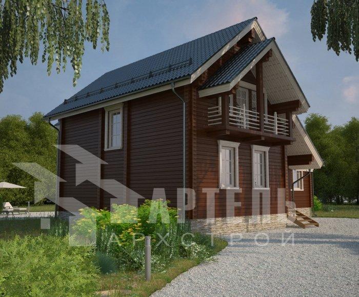 двухэтажный дом из профилированного бруса площадью от 150 до 200 кв. м. с  балконом, мансардой, эркером, проект Вариант 9 Е-1 фотография 4753