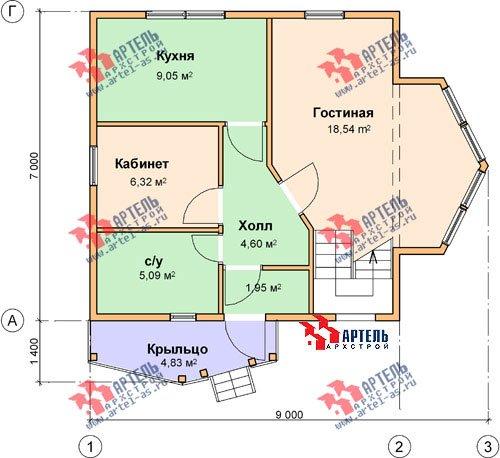 двухэтажный дом из бруса площадью от 100 до 150 кв. м. с  мансардой, эркером, проект Вариант 7 А фотография 782