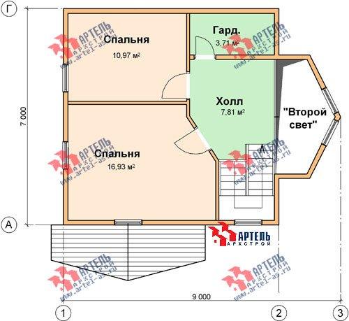 двухэтажный дом из бруса площадью от 100 до 150 кв. м. с  мансардой, эркером, проект Вариант 7 А фотография 785