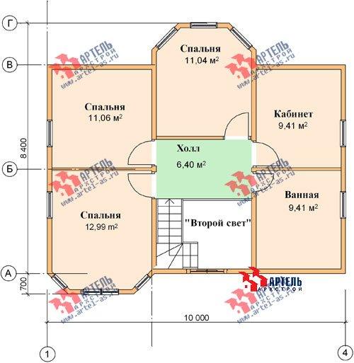 двухэтажный дом из бруса площадью от 100 до 150 кв. м. с  мансардой, террасой, эркером, проект Вариант 8.4 А фотография 965