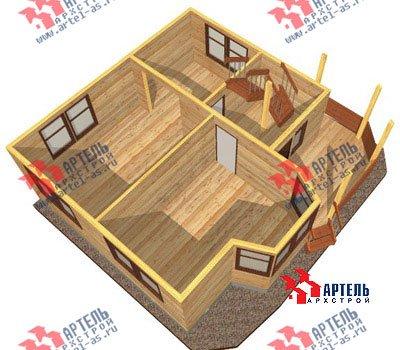 двухэтажный дом из профилированного бруса площадью от 100 до 150 кв. м. с  балконом, мансардой, эркером, проект Вариант 8 Л фотография 1077