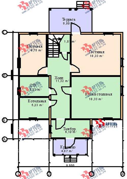 двухэтажный дом из бруса площадью от 150 до 200 кв. м. с  мансардой, террасой, проект Вариант 9.6 Б фотография 1245