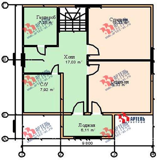 двухэтажный дом из бруса площадью от 150 до 200 кв. м. с  мансардой, террасой, проект Вариант 9.6 Б фотография 1246