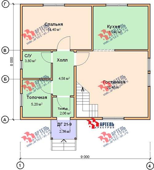 двухэтажный дом из бруса площадью от 100 до 150 кв. м. с  мансардой, проект Вариант 8 Л-1 фотография 1089