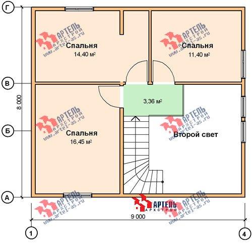 двухэтажный дом из бруса площадью от 100 до 150 кв. м. с  мансардой, проект Вариант 8 Л-1 фотография 1090
