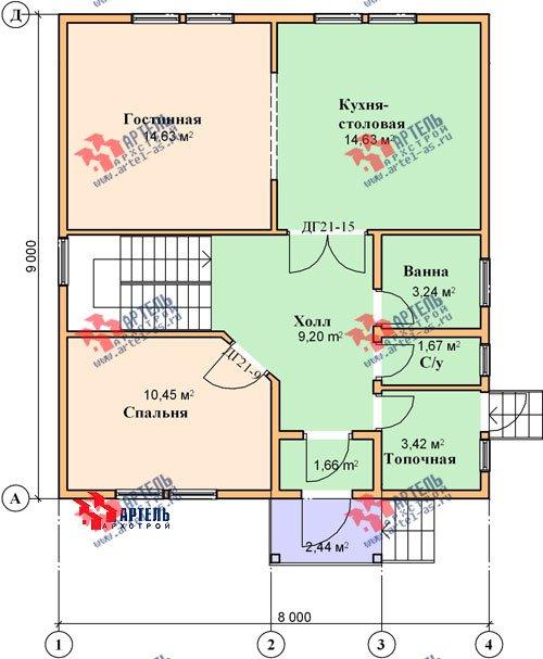 двухэтажный дом из бруса площадью от 100 до 150 кв. м. с  мансардой, проект Вариант 8 Н фотография 1105