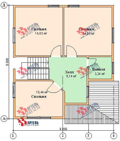 двухэтажный дом из бруса площадью от 100 до 150 кв. м. с  мансардой, проект Вариант 8 Н фотография 1106