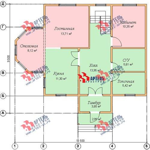 двухэтажный дом из бруса площадью от 100 до 150 кв. м. с  мансардой, эркером, проект Вариант 8 Д фотография 1010