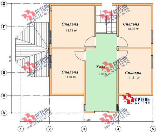 двухэтажный дом из бруса площадью от 100 до 150 кв. м. с  мансардой, эркером, проект Вариант 8 Д фотография 1007