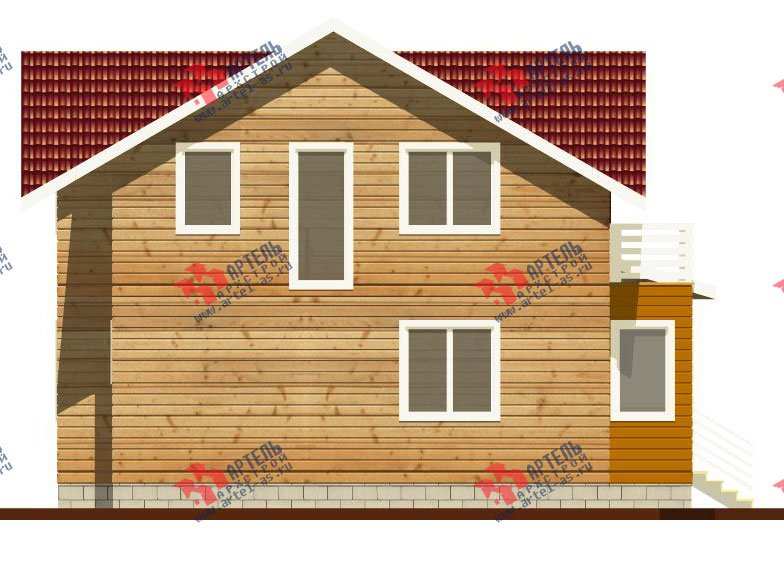 двухэтажный дом из профилированного бруса камерной сушки площадью от 100 до 150 кв. м. с  балконом, мансардой, террасой, проект Вариант 1 фотография 2521