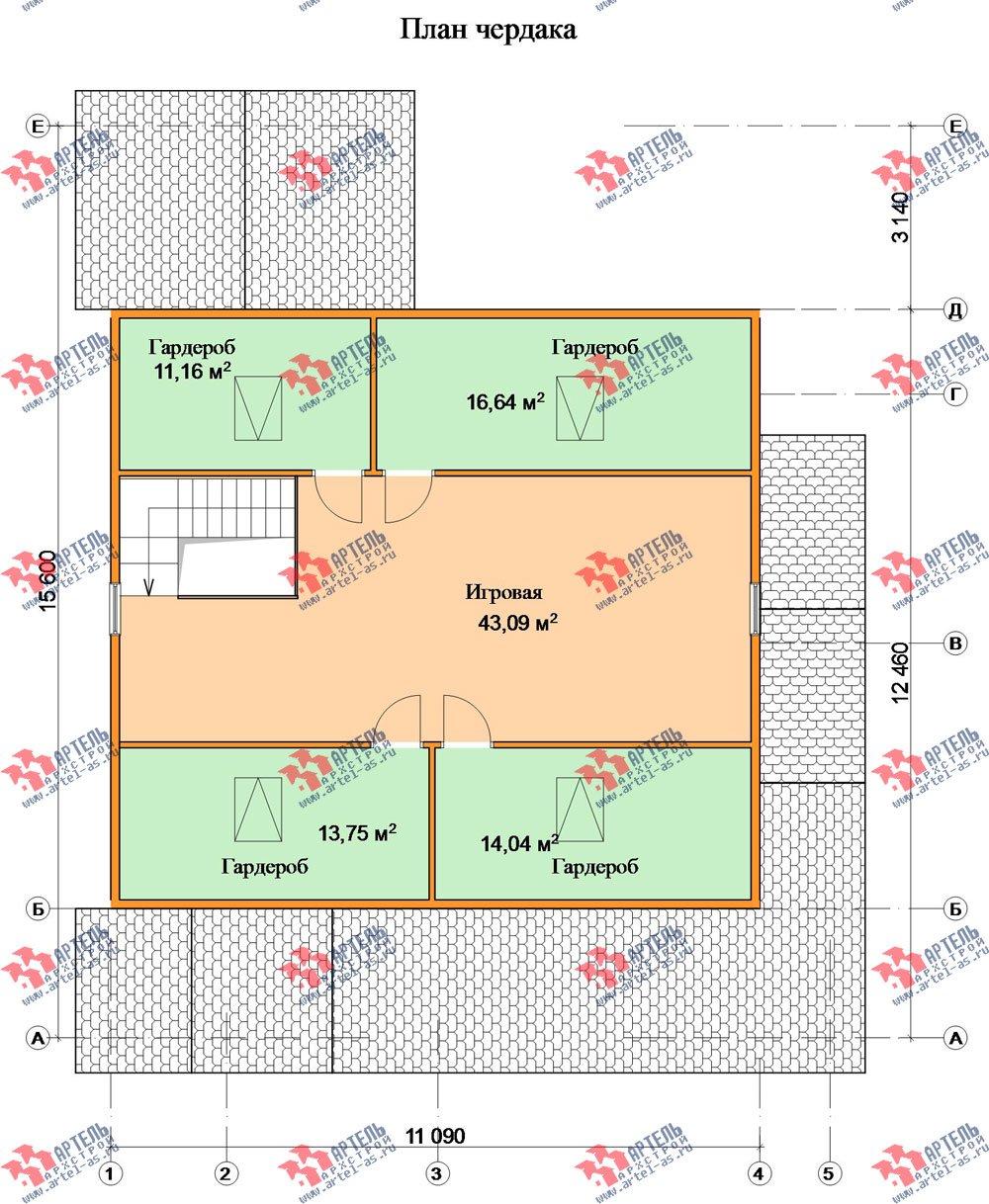 двухэтажный дом из бруса площадью свыше 200 кв. м. с  мансардой, террасой, проект Вариант 11.1 А фотография 2585