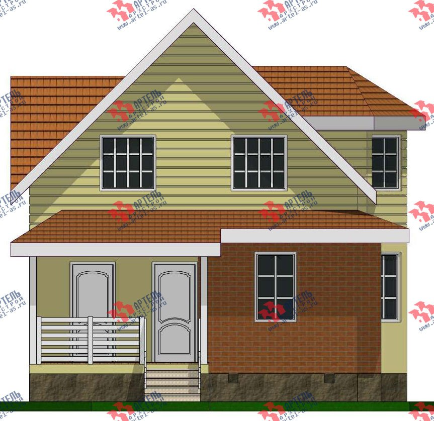 двухэтажный дом из бруса площадью от 100 до 150 кв. м. с  мансардой, эркером, проект Вариант 7 фотография 2801