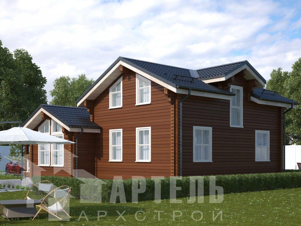 двухэтажный дом из камня площадью от 150 до 200 кв. м. с  балконом, эркером, проект Вариант 25 фотография 2770