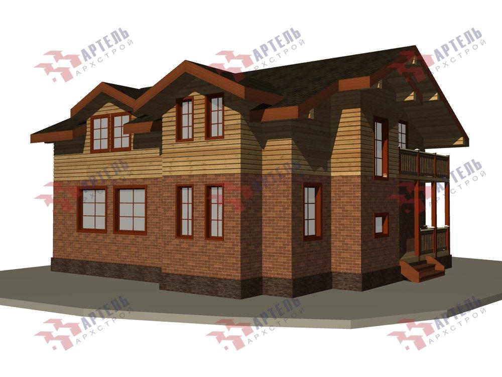 двухэтажный дом омбинированные дома площадью от 150 до 200 кв. м. с  балконом, эркером, проект Вариант 26 Камень и Комбинированный фотография 6227