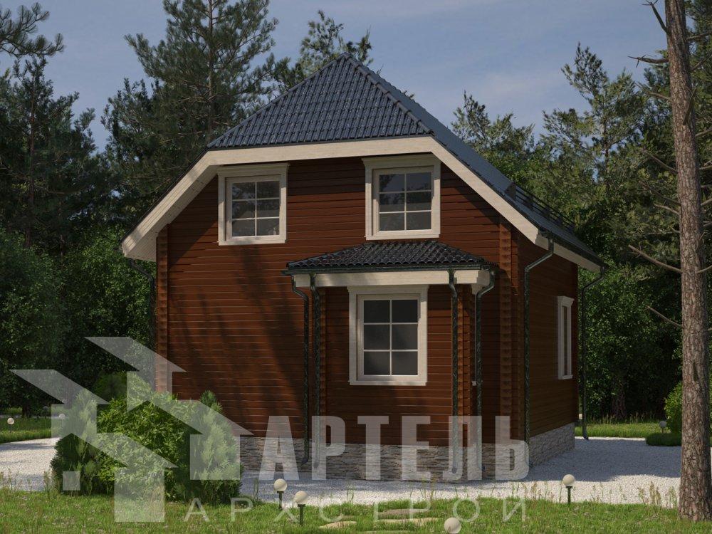 двухэтажный дом из профилированного бруса площадью до 100 кв. м. с  мансардой, эркером, проект Вариант 7 Г фотография 6594