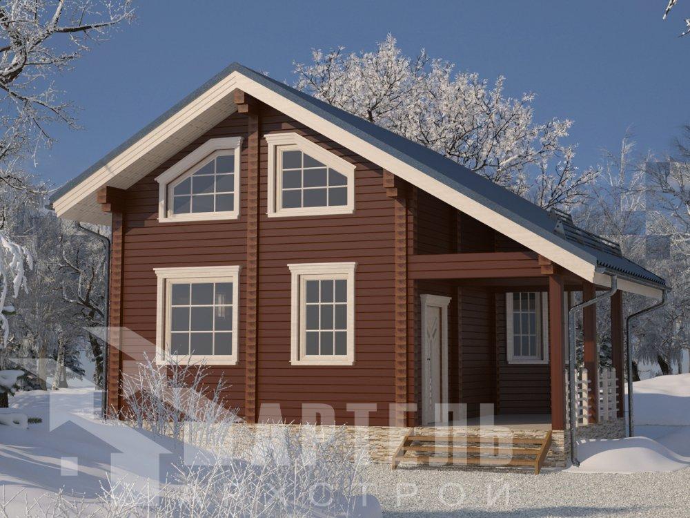 двухэтажный дом из профилированного бруса площадью от 100 до 150 кв. м. с  верандой, мансардой, эркером, проект Вариант 6 Л фотография 6613