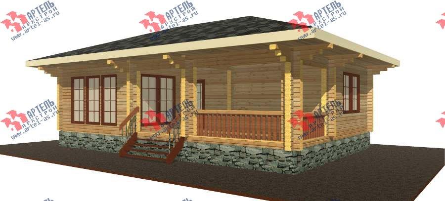 одноэтажный дом из бруса площадью до 100 кв. м. с  террасой, проект Вариант 7.8 А-1 фотография 3310