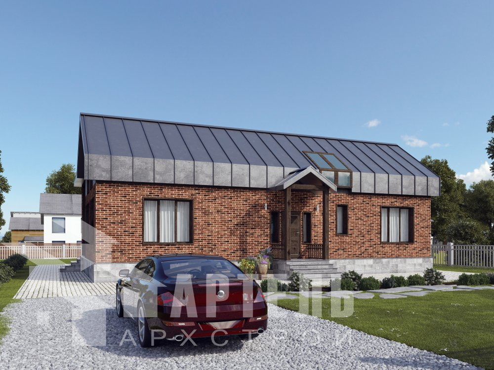 дом омбинированные дома, проект Вариант 14Т Камень и Комбинированный фотография 6341
