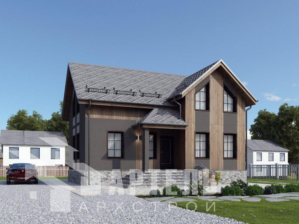 двухэтажный дом омбинированные дома площадью от 100 до 150 кв. м. с  эркером, проект Вариант 9 фотография 6350