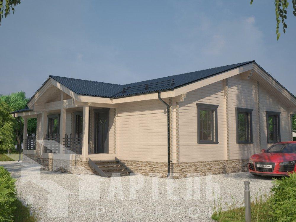 одноэтажный дом из профилированного бруса площадью от 100 до 150 кв. м. с  террасой, проект Вариант 12.4 Б фотография 6421