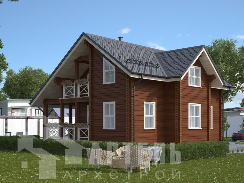 двухэтажный дом из камня площадью свыше 200 кв. м. с  эркером, проект Вариант 19 фотография 637