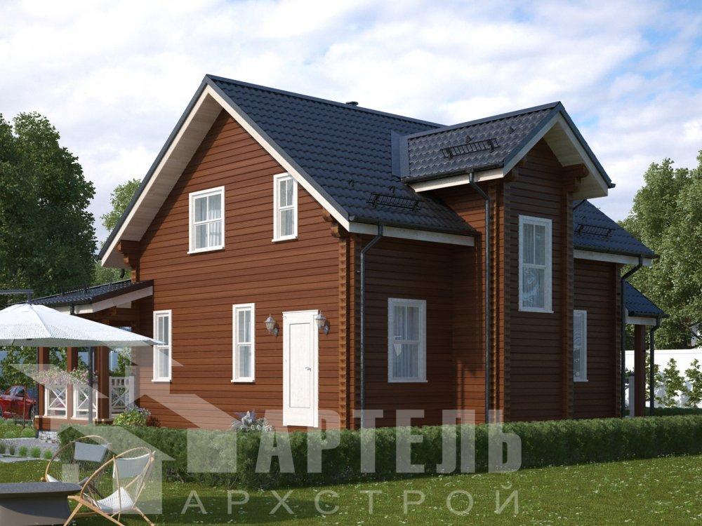 двухэтажный дом из профилированного бруса площадью от 100 до 150 кв. м. с  балконом, террасой, проект Вариант 10.7Л фотография 6546