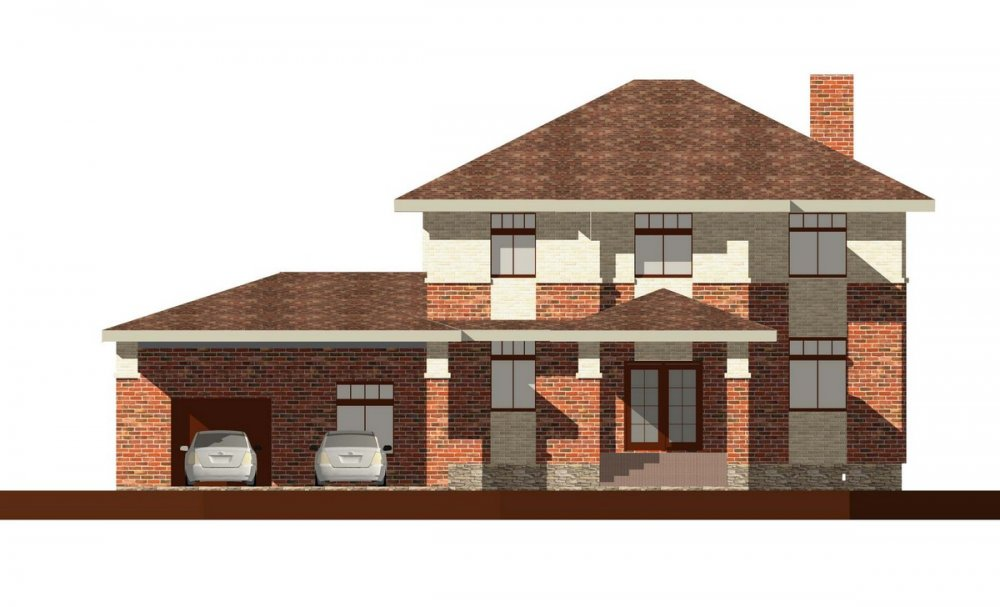 двухэтажный дом омбинированные дома площадью свыше 200 кв. м., проект Вариант 18,4А Камень и Комбинированный фотография 6064