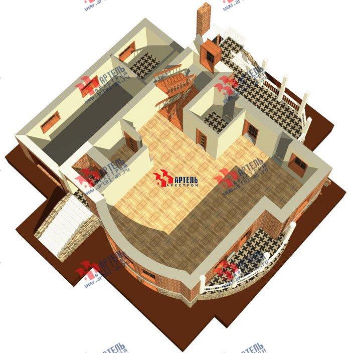 трёхэтажный дом из камня площадью свыше 200 кв. м. с  балконом, гаражом, террасой, эркером, проект Вариант 3 фотография 468