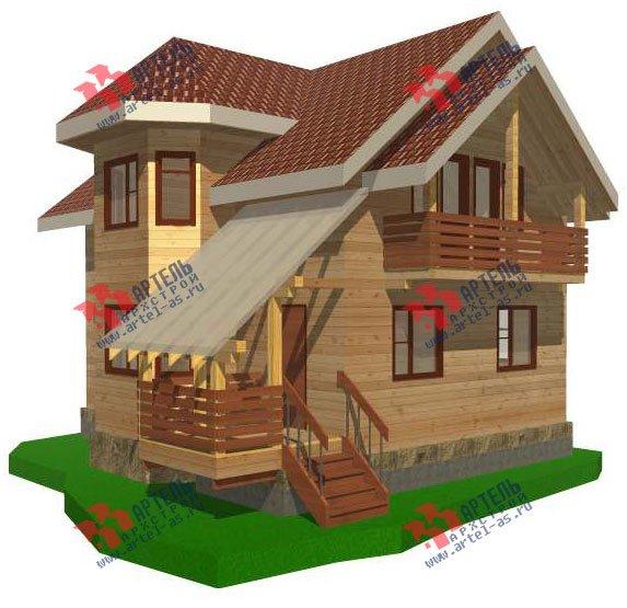 двухэтажный дом из бруса площадью от 100 до 150 кв. м. с  балконом, мансардой, эркером, проект Вариант 6.2 К фотография 2782