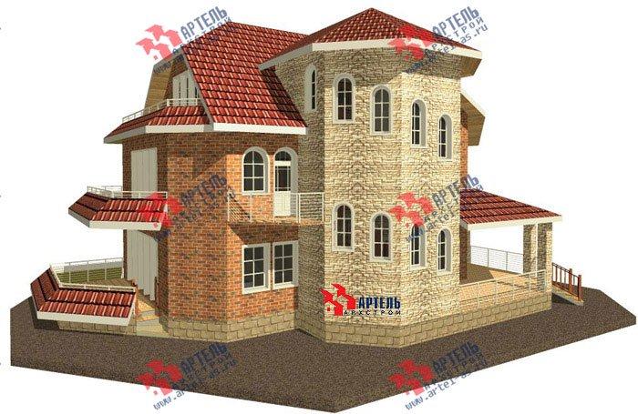 трёхэтажный дом из камня площадью свыше 200 кв. м. с  балконом, террасой, эркером, проект Вариант 4 фотография 477