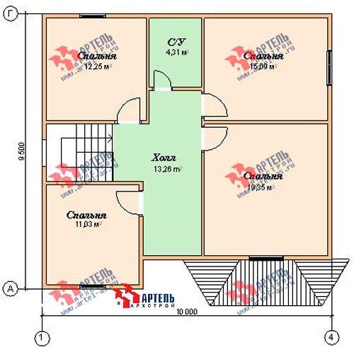 двухэтажный дом из бруса площадью от 150 до 200 кв. м. с  мансардой, эркером, проект Вариант 9.5 А фотография 1214