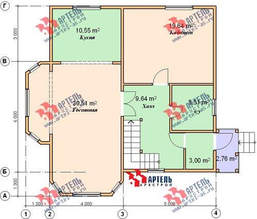 двухэтажный дом из бруса площадью от 150 до 200 кв. м. с  балконом, мансардой, эркером, проект Вариант 9 В фотография 1255