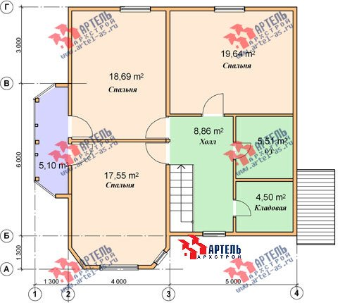 двухэтажный дом из бруса площадью от 150 до 200 кв. м. с  балконом, мансардой, эркером, проект Вариант 9 В фотография 1256