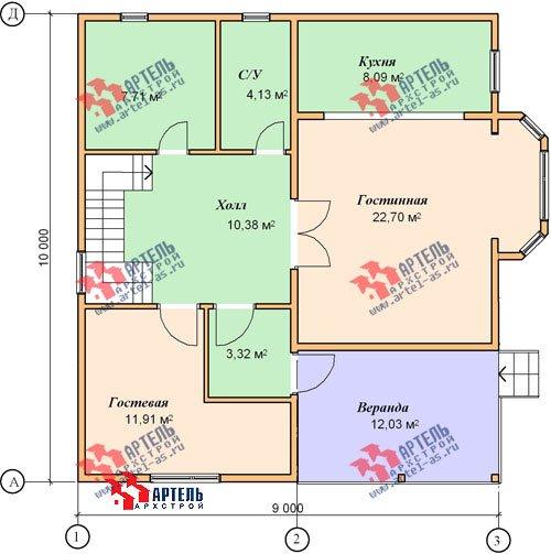 двухэтажный дом из бруса площадью от 150 до 200 кв. м. с  балконом, верандой, мансардой, эркером, проект Вариант 9 М фотография 1290