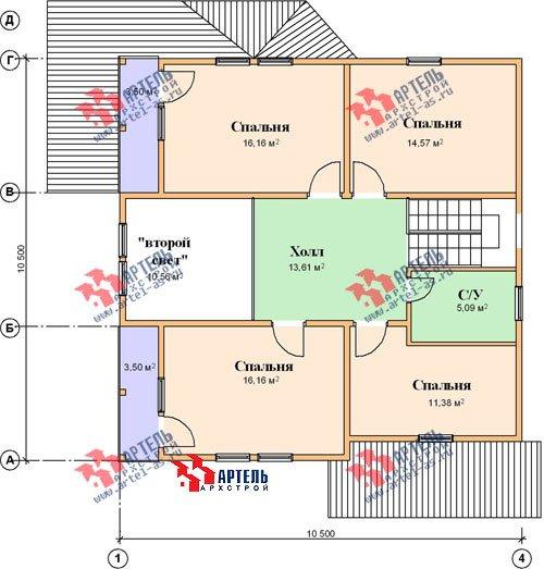 двухэтажный дом из профилированного бруса площадью свыше 200 кв. м. с  балконом, мансардой, террасой, эркером, проект Вариант 10.5 А фотография 1331