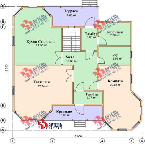 двухэтажный дом из бруса площадью свыше 200 кв. м. с  балконом, мансардой, террасой, эркером, проект Вариант 11.5 А фотография 1389