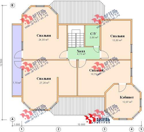 двухэтажный дом из бруса площадью свыше 200 кв. м. с  балконом, мансардой, террасой, эркером, проект Вариант 11.5 А фотография 1390
